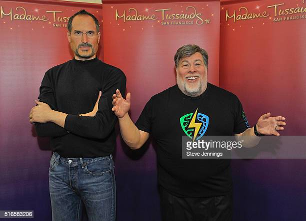 Madame Tussauds wax figures of Apple CoFounders Steve Jobs and Steve Wozniak are displayed at the unveiling of Steve Wozniak's figure at the 1st...