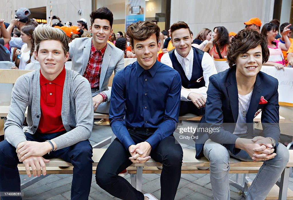 Madame Tussauds wax figures of the globally renowned British pop boy-band sensation, One Direction appear on NBC News' 'Today' show on July 19, 2013 in New York City.