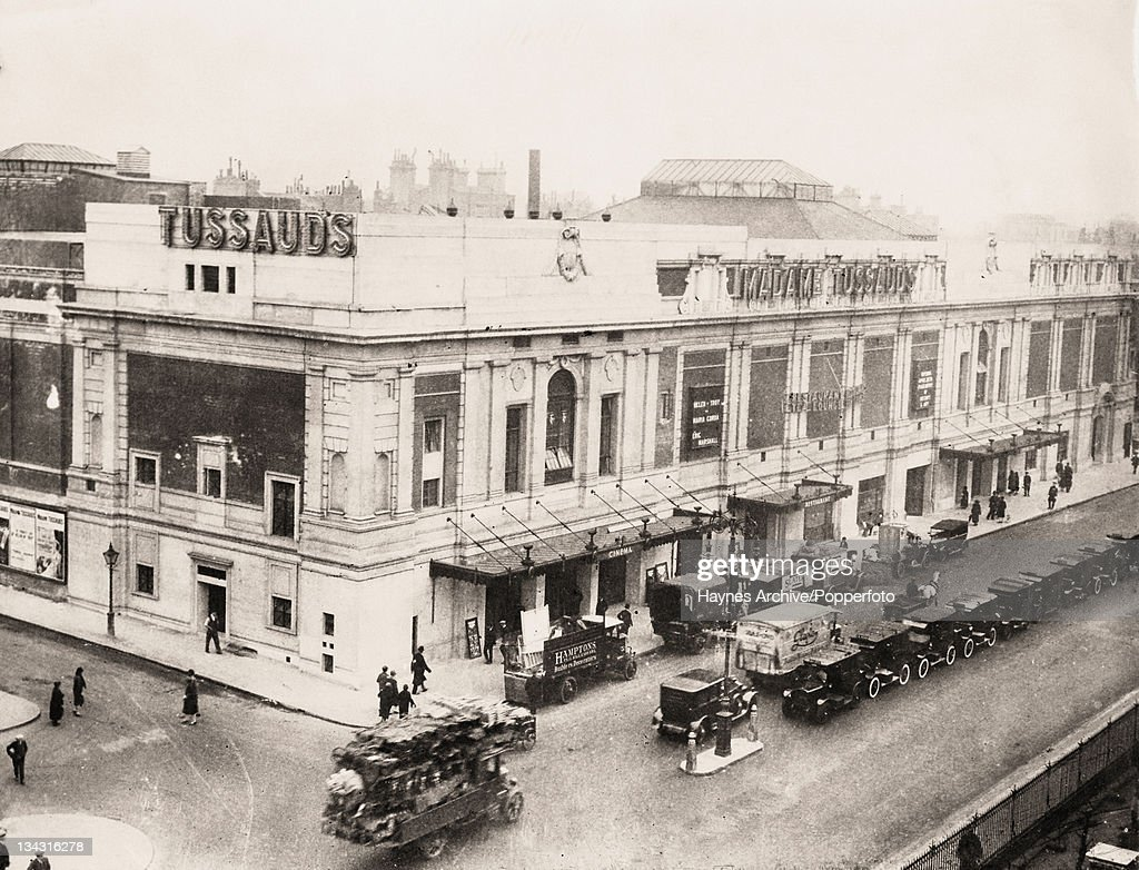 Madame Tussauds Wax Museum on Baker Street in London with a cinema on the corner 1927
