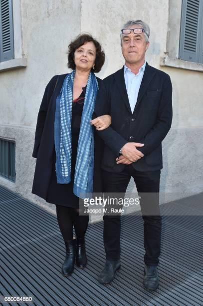 Maddalena Bregani and Stefano Boeri attend a 'Private view of 'TV 70 Francesco Vezzoli Guarda La Rai' at Fondazione Prada on May 7 2017 in Milan Italy