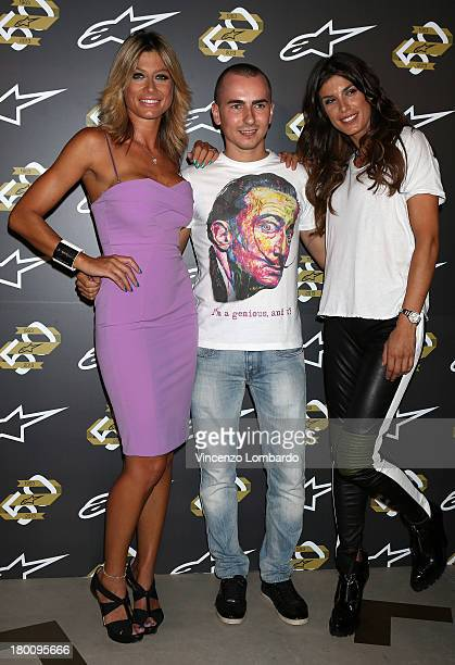 Maddalena Corvaglia Jorge Lorenzo and Elisabetta Canalis attend the Alpinestars 50th Anniversary Event at Progetto Calabiana on September 8 2013 in...