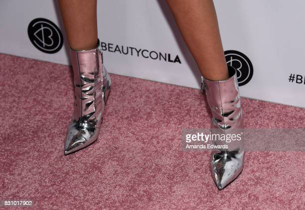 Maddi Bragg shoe detail attends the 5th Annual Beautycon Festival Los Angeles at the Los Angeles Convention Center on August 12 2017 in Los Angeles...