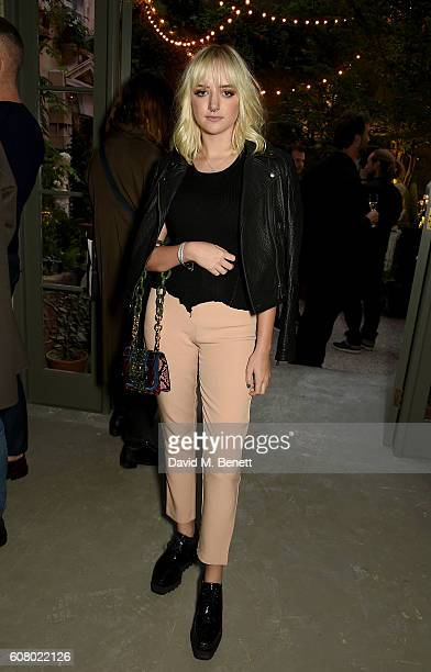Maddi Bragg wearing Burberry at the Burberry September 2016 show during London Fashion Week SS17 at Makers House on September 19 2016 in London...
