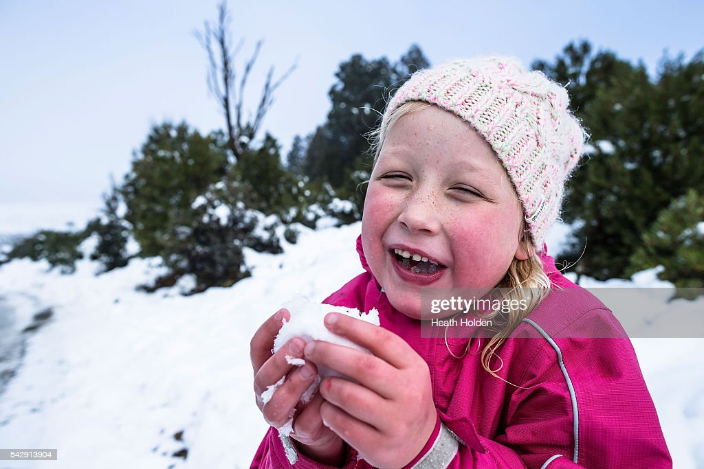 Maddie Behrens (6yrs) enjoys the winter snowfall on June 25, 2016 in Cradle Mountain, Australia. Snow has been forecast across Eastern Australia as cold front continues to bring low temperatures, rain and potentially damaging winds.