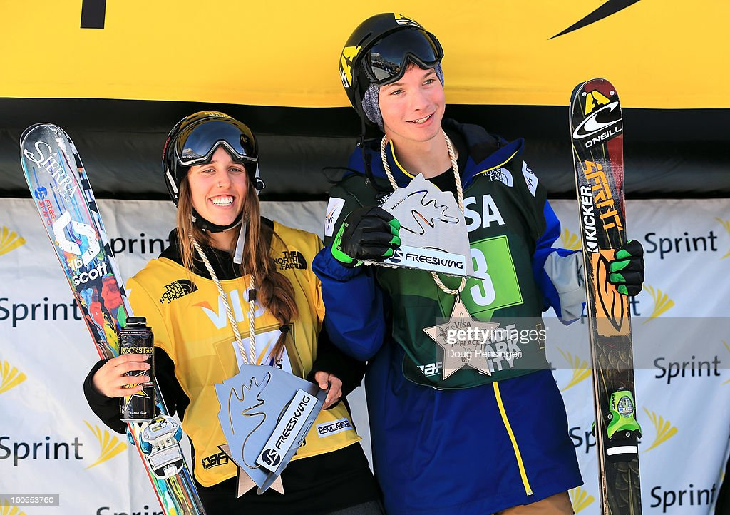 Maddie Bowman and David Wise take the podium after winning the US Freeskiing Halfpipe National Championships during the FIS Freestyle Ski Halfpipe World Cup at the Sprint U.S. Grand Prix at Park City Mountain on February 2, 2013 in Park City, Utah.