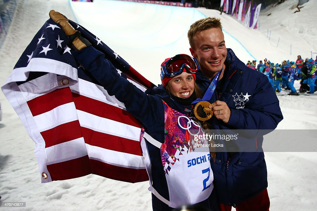 Maddie Bowman of the United States celebrates winning the gold medal in the Freestyle Skiing Ladies' Ski Halfpipe Finals with David Wise, gold medal winner in the Men's Ski Halfpipe on day thirteen of the 2014 Winter Olympics at Rosa Khutor Extreme Park on February 20, 2014 in Sochi, Russia.