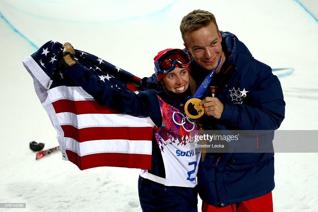 <a gi-track='captionPersonalityLinkClicked' href=/galleries/search?phrase=Maddie+Bowman&family=editorial&specificpeople=8052656 ng-click='$event.stopPropagation()'>Maddie Bowman</a> of the United States celebrates winning the gold medal in the Freestyle Skiing Ladies' Ski Halfpipe Finals with David Wise, gold medal winner in the Men's Ski Halfpipe on day thirteen of the 2014 Winter Olympics at Rosa Khutor Extreme Park on February 20, 2014 in Sochi, Russia.