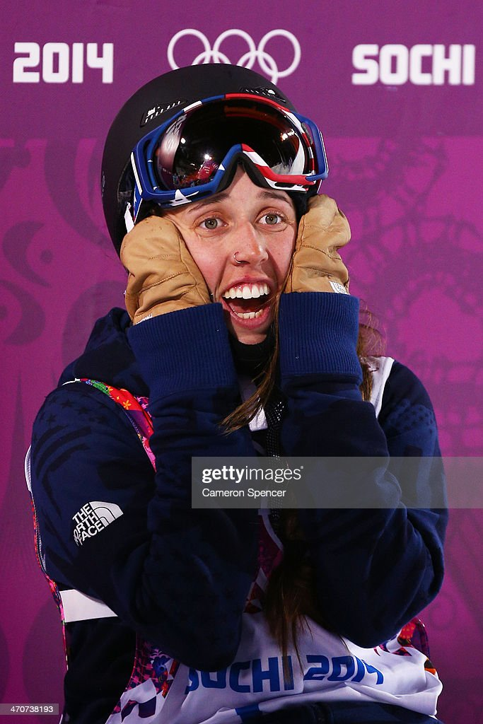 Maddie Bowman of the United States reacts on the way to winning the gold medal in the Freestyle Skiing Ladies' Ski Halfpipe Finals on day thirteen of the 2014 Winter Olympics at Rosa Khutor Extreme Park on February 20, 2014 in Sochi, Russia.