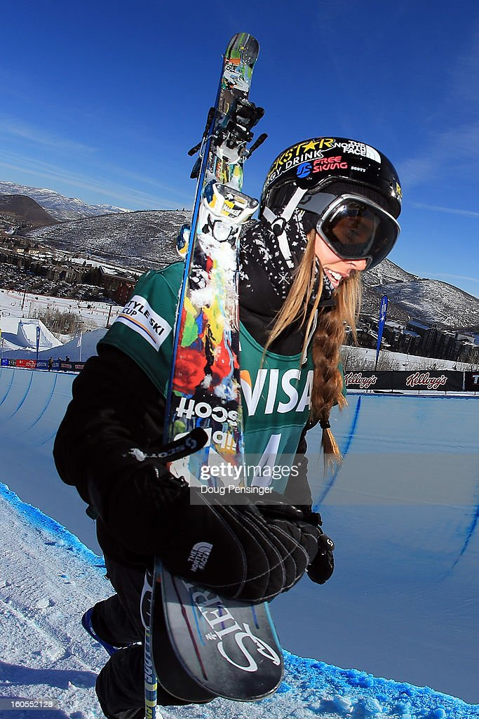 Maddie Bowman of the USA hikes up the deck of the pipe during practice as she went on to win the ladies FIS Freestyle Ski Halfpipe World Cup during the Sprint U.S. Grand Prix at Park City Mountain on February 2, 2013 in Park City, Utah.