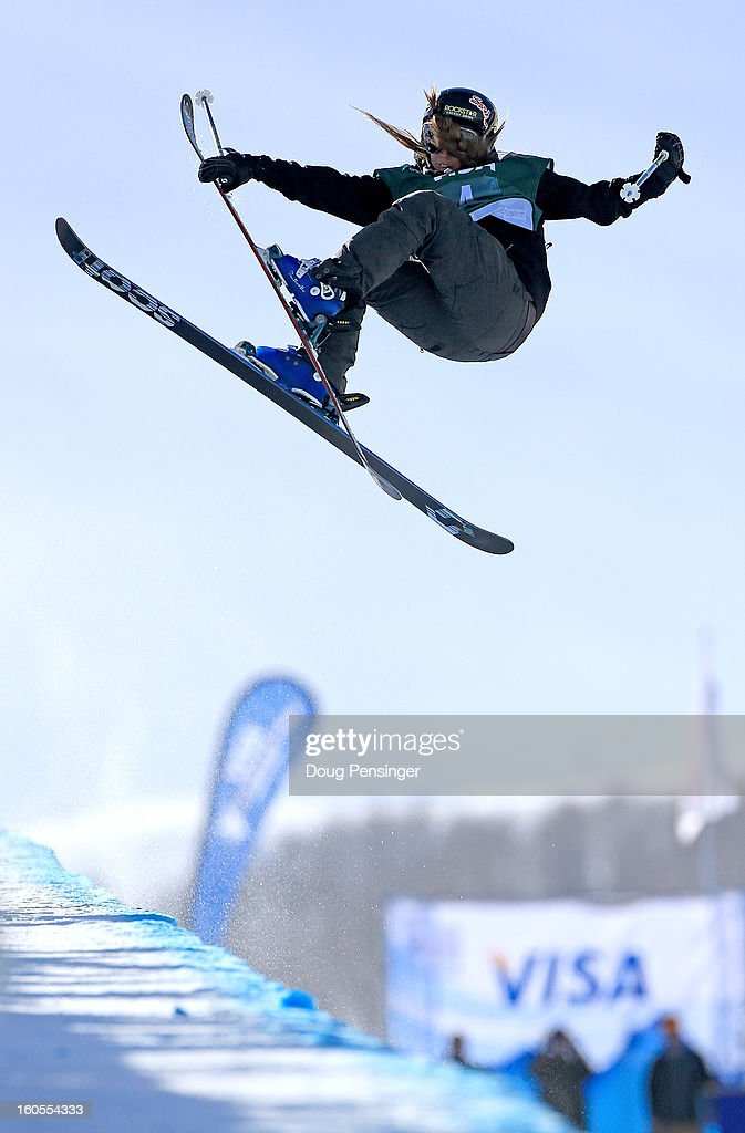 Maddie Bowman of the USA spins above the pipe en route to winning the ladies FIS Freestyle Ski Halfpipe World Cup during the Sprint U.S. Grand Prix at Park City Mountain on February 2, 2013 in Park City, Utah.