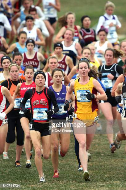 Maddie Coffman of Williamette University and Becca Jordahl of the University of WisconsinRiver Falls lead a pack of runners during the Division III...