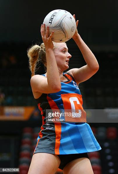 Maddie Hay of Canberra in action during round one of the ANL match between Canberra Giants and Netball NSW Waratahs at Sydney Olympic Park Sports...