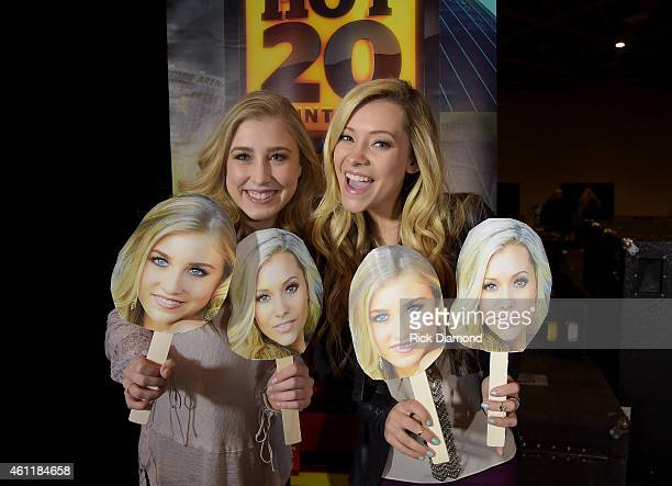 Maddie Marlow and Tae Dye of Maddie Tae attend rehearsals for the CMT ULTIMATE KICKOFF PARTY LIVE FROM THE COLLEGE FOOTBALL PLAYOFF NATIONAL...