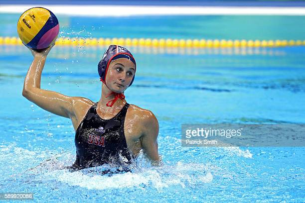 Maddie Musselman of United States shoots against Brazil on Day 10 of the 2016 Rio Olympics at Olympic Aquatics Stadium during the Women's Water Polo...