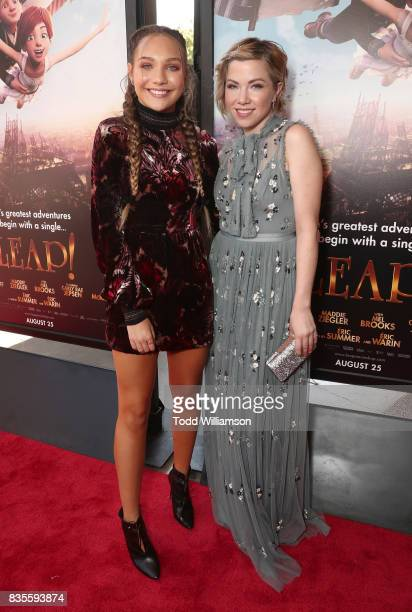 Maddie Ziegler and Carly Rae Jepsen attend the premiere Of The Weinstein Company's 'Leap' at Pacific Theatres at The Grove on August 19 2017 in Los...