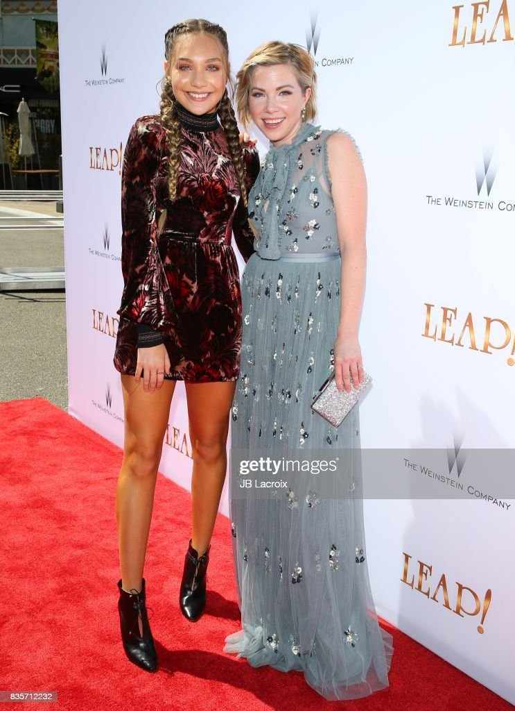 Maddie Ziegler and Carly Rae Jepsen attend the premiere of The Weinstein Company's 'Leap!' on August 19, 2017 in Los Angeles, California.