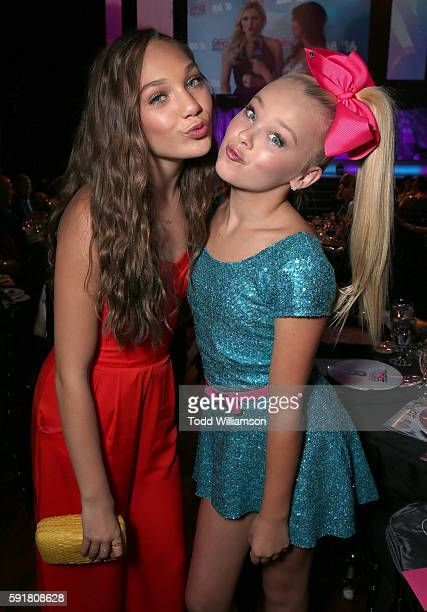 Maddie Ziegler and JoJo Siwa attend thre 2016 Industry Dance Awards And Cancer Benefit Show at Avalon on August 17 2016 in Hollywood California