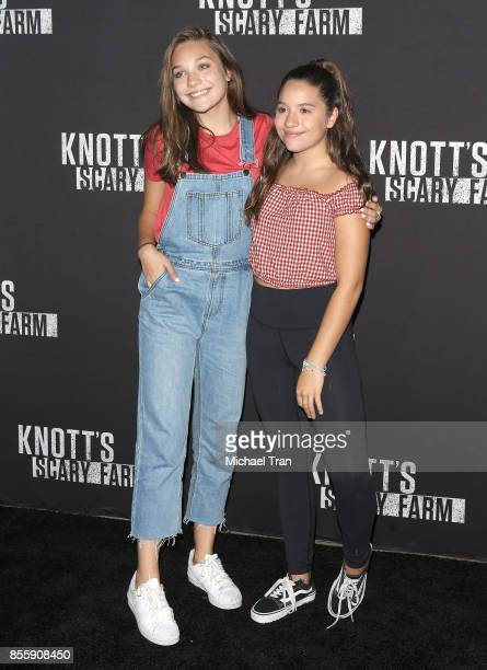 Maddie Ziegler and Mackenzie Ziegler arrives at Knott's Scary Farm and Instagram's Celebrity Night held at Knott's Berry Farm on September 29 2017 in...