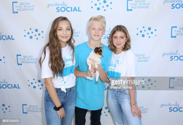 Maddie Ziegler Carson Lueders and Lilia Buckingham attend the Positively Social launch event on September 24 2017 in Beverly Hills California
