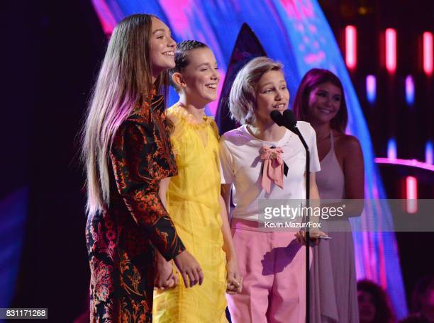 Maddie Ziegler Millie Bobby Brown and Grace VanderWaal speak onstage during the Teen Choice Awards 2017 at Galen Center on August 13 2017 in Los...