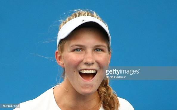 Maddison Inglis of Western Australia celebrates match point after winning the Women's Australian Open 2016 Singles Playoff final between Arina...