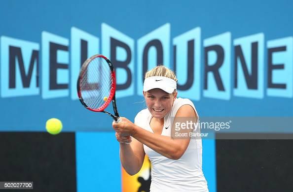 Maddison Inglis of Western Australia plays a backhand during the Women's Australian Open 2016 Singles Playoff final between Arina Rodionova of...