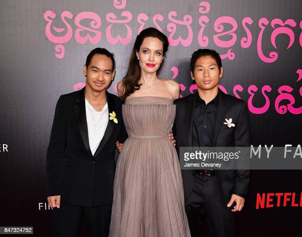 Maddox JoliePitt Angelina Jolie and Pax JoliePitt arrive to the DGA Theater for the New York premiere of 'First They Killed My Father' on September...