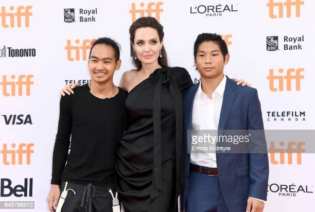 Maddox JoliePitt Angelina Jolie and Pax JoliePitt attend the World Premiere of Netflix's Film's 'First They Killed My Father' during the Toronto...