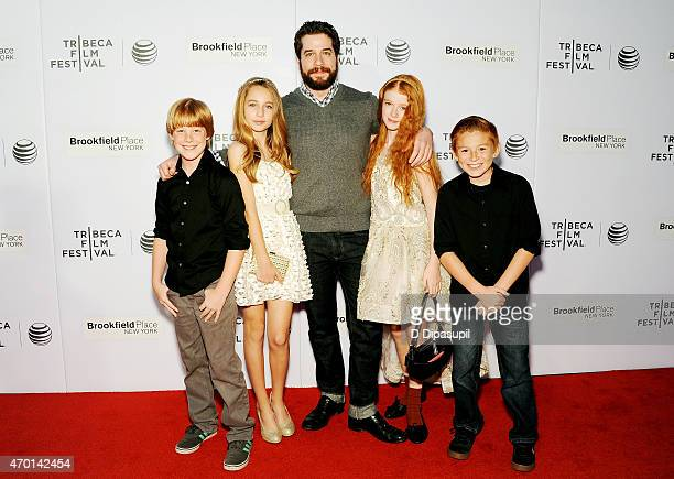 Maddux Berry Eden McCoy Gil Zabarsky Hannah McCloud and guest attend the premiere of 'Tenured' during the 2015 Tribeca Film Festival at Regal Battery...