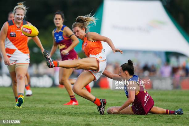 Maddy Collier of the Giants in action during the round four Women's AFL match between the Brisbane Lions and the Greater Western Sydney Giants at...