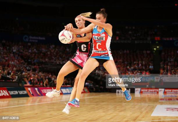 Maddy Proud of the Swifts and Gia Abernethy of the Thunderbirds in action during the round two Super Netball match between the Sydney Swifts and the...