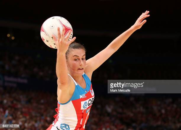 Maddy Proud of the Swifts in action during the round two Super Netball match between the Sydney Swifts and the Adelaide Thunderbirds at Qudos Bank...