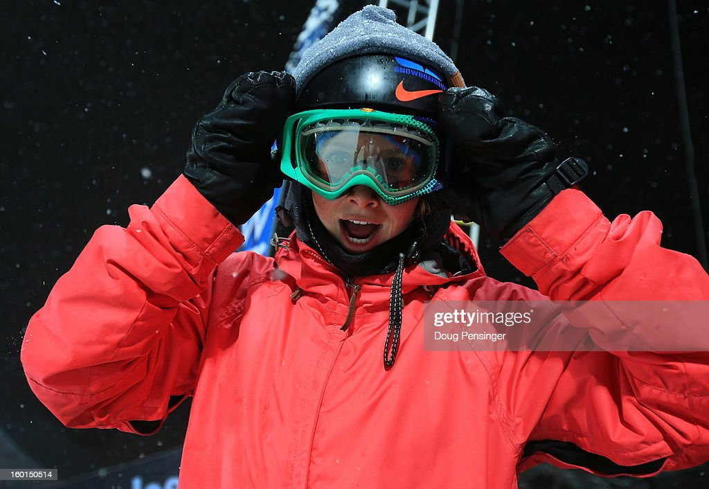 Maddy Schaffrick prepares to take a practice run prior to the Women's Snowboard Superpipe Final during Winter X Games Aspen 2013 at Buttermilk Mountain on January 26, 2013 in Aspen, Colorado.