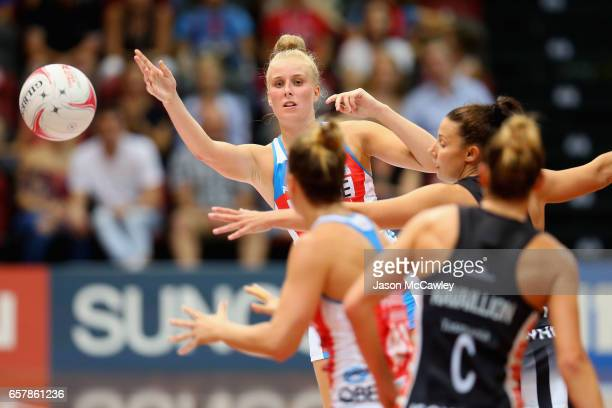 Maddy Turner of the Swifts passes the ball during the round six Super Netball match between the Swifts and the Magpies at Sydney Olympic Park Sports...