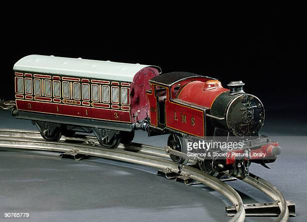 Made by Hornby England Gauge �0� made of tinplate with a red and black livery The Hornby company introduced tinplate clockwork trains in 1920...