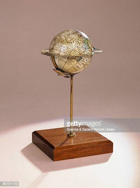 Made by Nathaniel Hill this globe is marked with the equator tropic and polar circles and the ecliptic The globe is mounted at an angle of 235...