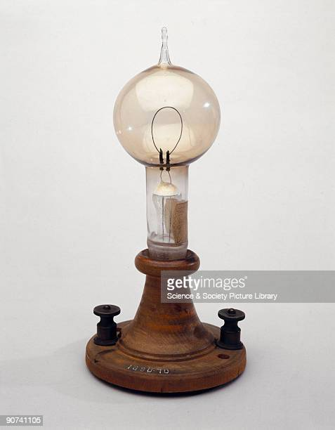 Made by the American inventor Thomas Alva Edison Edison's lamp had a single loop of carbon which glowed when a current flowed through it The glass...