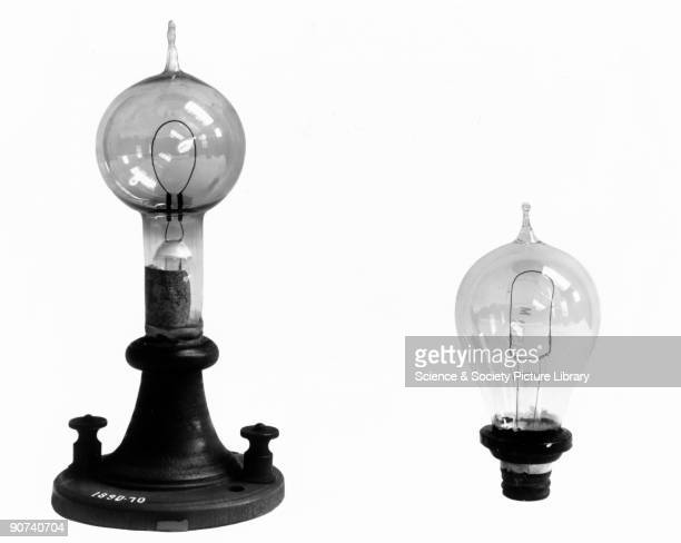 Made by the American inventor Thomas Alva Edison this lamp had a single loop of carbon which glowed when a current flowed through it The glass bulb...