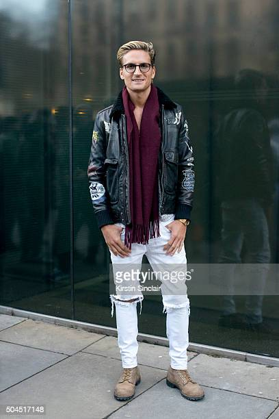 Made In Chelsea star Oliver Proudlock wears a Diesel jacket River Island jeans Sandro shirt Whistles scarf Red Wing boots and Tom Ford eyewear on day...