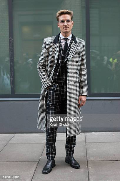 Made In Chelsea star Oliver Proudlock wears all Joshua Kane and Oliver Sweeney shoes on day 5 during London Fashion Week Autumn/Winter 2016/17 on...