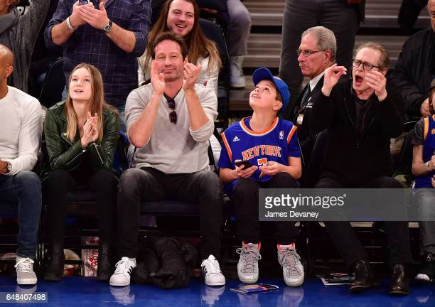 Madelaine Duchovny David Duchnovy guest and Steve Buscemi attend Golden State Warriors Vs New York Knicks game at Madison Square Garden on March 5...