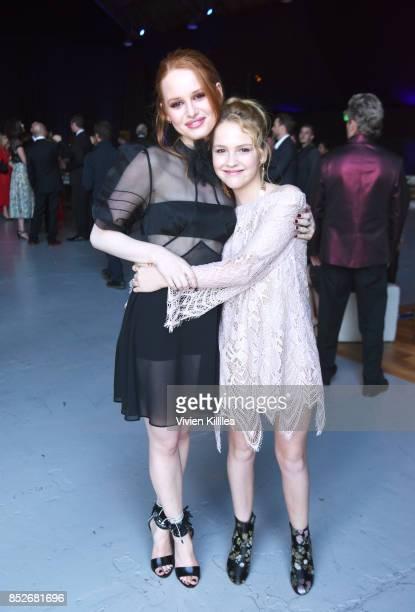 Madelaine Petsch and Talitha Bateman at the Environmental Media Association's 27th Annual EMA Awards at Barkar Hangar on September 23 2017 in Santa...