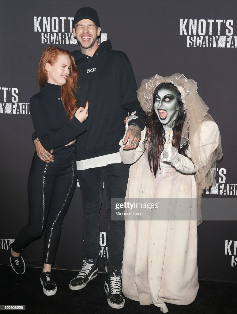 Madelaine Petsch and Travis Mills arrive at Knott's Scary Farm and Instagram's Celebrity Night held at Knott's Berry Farm on September 29, 2017 in Buena Park, California.