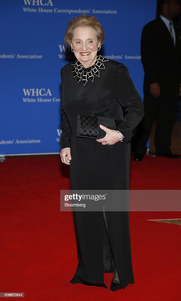 <a gi-track='captionPersonalityLinkClicked' href=/galleries/search?phrase=Madeleine+Albright&family=editorial&specificpeople=211429 ng-click='$event.stopPropagation()'>Madeleine Albright</a>, former Secretary of State, arrives for the White House Correspondents' Association (WHCA) dinner in Washington, D.C., U.S., on Saturday, April 30, 2016. The 102nd WHCA raises money for scholarships and honors the recipients of the organization's journalism awards. Photographer: Andrew Harrer/Bloomberg via Getty Images