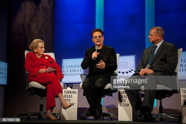 Madeleine Albright former Secretary of State from right Bono singer for the band U2 and General John Allen former commander of the International...