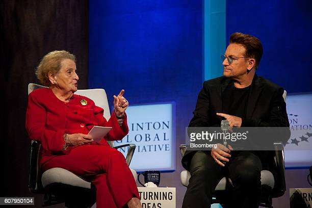 Madeleine Albright former Secretary of State left and Bono singer for the band U2 participate in a panel discussion during the annual meeting of the...