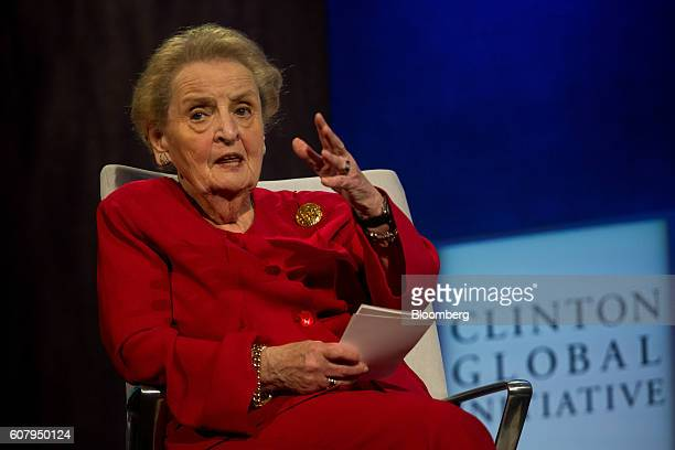 Madeleine Albright former Secretary of State speaks during a panel discussion during the annual meeting of the Clinton Global Initiative in New York...