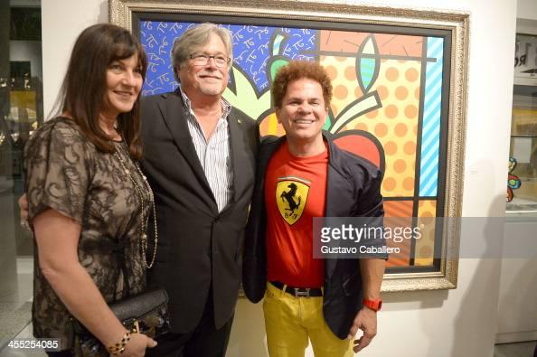 Madeleine Arison Micky Arison and Artist Romero Britto attend Britto Central Gallery's 20th Anniversary Celebration on December 11 2013 in Miami...