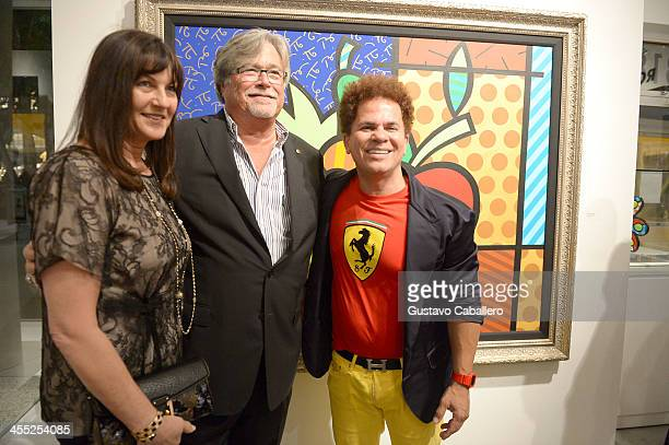 Madeleine Arison Micky Arison and Artist Romero Britto attend Britto Central Gallery's 20th Anniversary Celebration on December 11 2013 in Miami...