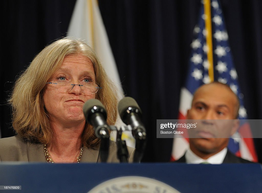 Madeleine Biondolillo, director of DPH Bureau of Health Care Safety, Gov. Deval Patrick and other Commonwealth Medical personnel held a press conference on October 23, 21 regarding the meningitis outbreak and the findings of the Commonwealth into compounding pharmacies.